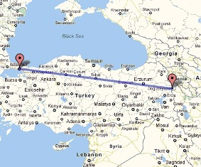 1500 km bus trip from Istanbul to Dogubayazit takes 22 hours.