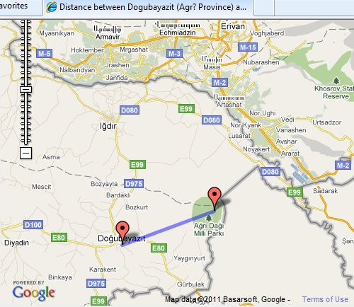 Click to enlarge map of distance between Dogubayazit to Mount Ararat. Close window tab to return.